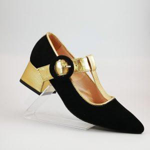 Mercedita en T negro oro