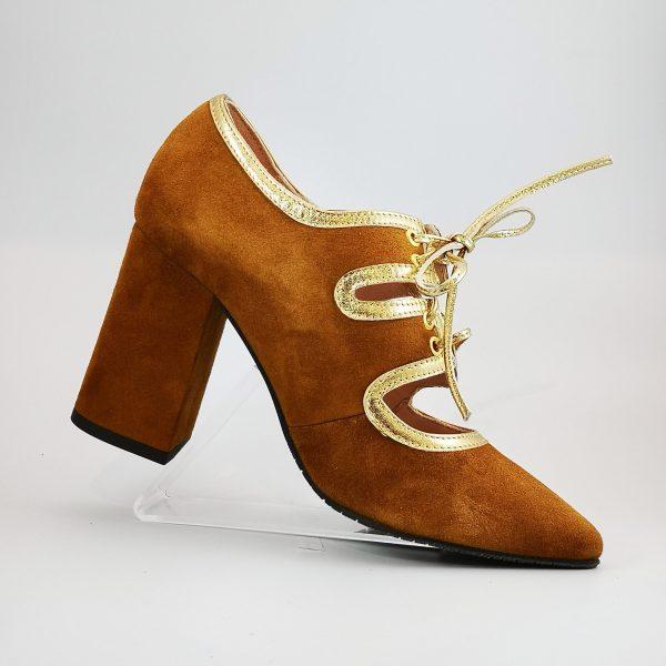zapato mondo ante camel cordon ribete oro