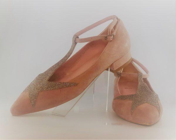 Manoletina estrella angari aante rosa y glitter