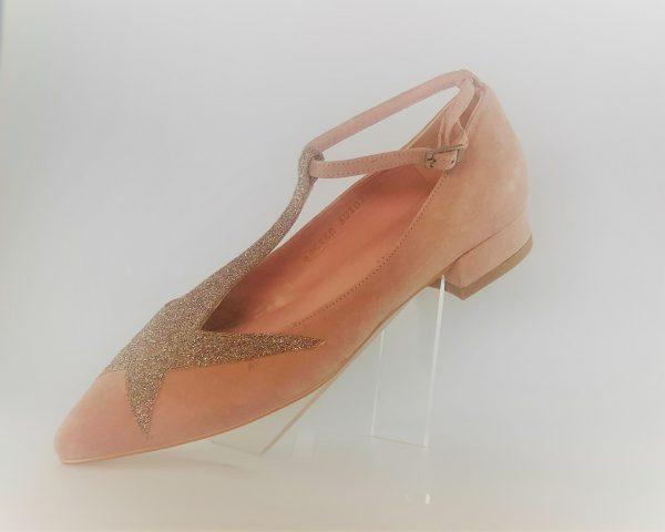 Manoletina estrella angari ante rosa y glitter